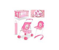 Набор игровой D-98282  HK,для куклы,коляска-прогул,стульч.для кормл,манеж-в чехл,кор,63-34-10см(D-98282)