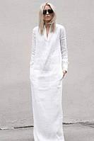 Льняная туника платье-рубаха ровное длинное в пол. Цвета в ассортименте, фото 1