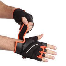 Перчатки спортивные MARATON 16-1627 (PL, PVC, открытые пальцы, р-р L-XXL, черный с оранжевым), фото 2