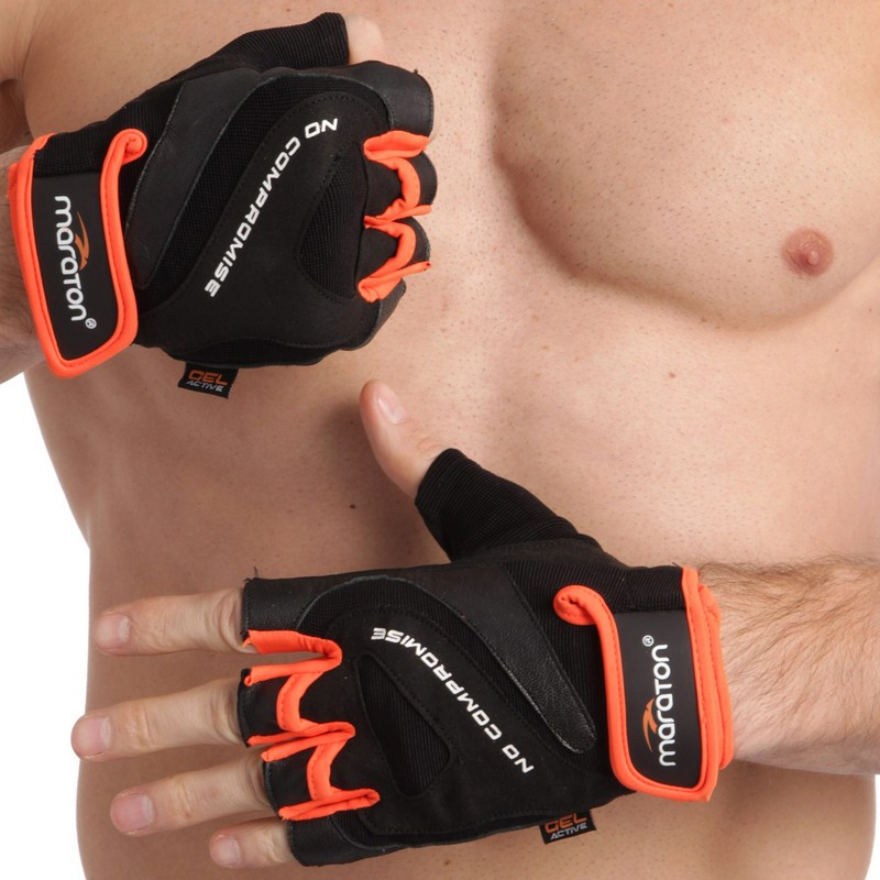 Перчатки спортивные MARATON 16-1627 (PL, PVC, открытые пальцы, р-р L-XXL, черный с оранжевым)