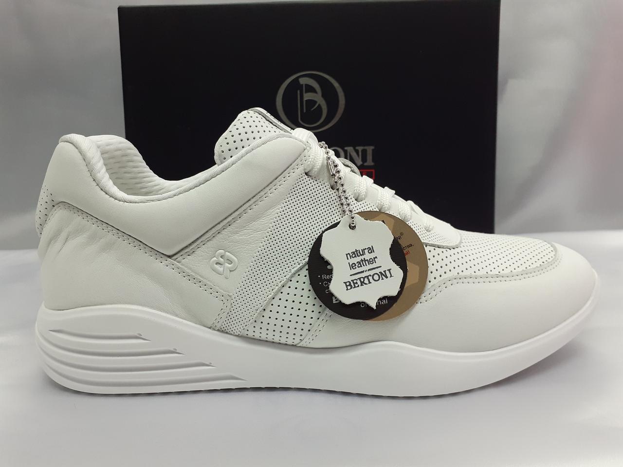 Стильные весенние кожаные кроссовки белые Bertoni