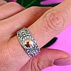 Серебряное кольцо Спаси и Сохрани с золотом, фото 4