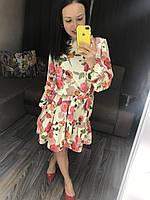 Платье мини  романтичное цветочный принт Ткань софт