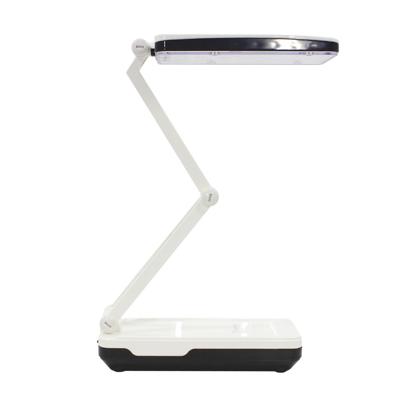 Настольная светодиодная лампа YAGE YG-5913C Бело-черная компактная слаживаемая питание от сети аккумулятора