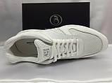 Стильные летние кожаные кроссовки белые Bertoni, фото 3
