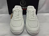Стильные летние кожаные кроссовки белые Bertoni, фото 5