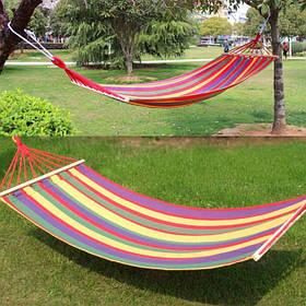 Гамак летний туристический подвесной из толстой хлопковой ткани с перекладиной 200Х80 см