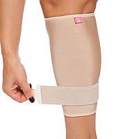 Фиксатор мышц голени с фиксирующим ремнем (1шт) (NY, ликра, р-р регулируемый, бежевый)