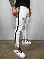 Мужские джинсы белые с черными лампасами рваные А-5302-3418, фото 1