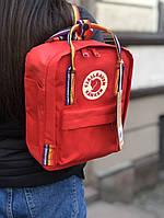 Рюкзак Fjallraven Kanken Mini Red / рюкзак канкен мини красный с разноцветными ручками / 7л / ТОП ААА+ Реплика