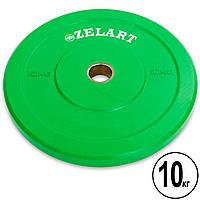 Бамперные диски для кроссфита Bumper Plates резиновые d-51мм Zelart Z-TOP ТА-5125-10 10кг (зеленый) PZ-TA-5125-10