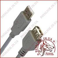 Подовжувач USB TCOM (шт. A - гн.А), v2.0, діаметр 4,5 мм, довжина 3м., сірий (5-0704)