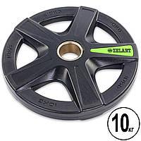 Блины (диски) полиуретановые 5 отверстий с металлической втулкой d-51мм Zelart 10кг (черный)
