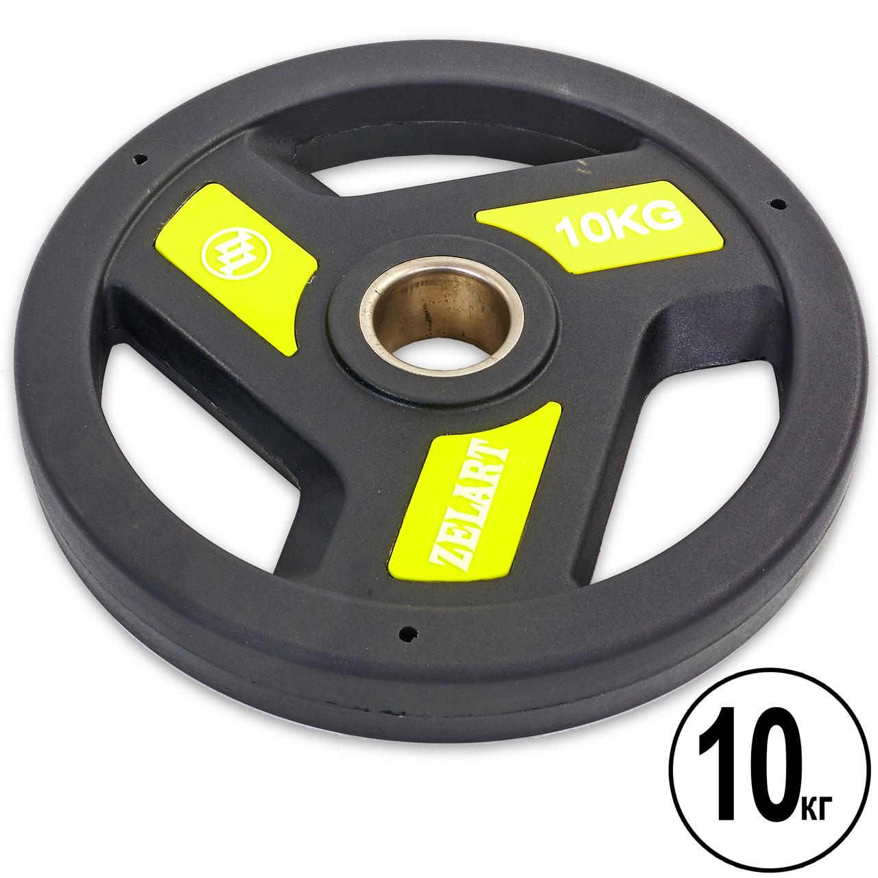 Блины (диски) полиуретановые с хватом и металлической втулкой d-51мм Zelart 10кг (черный)