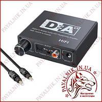 Преобразователь аудио сигнала Digital to Analog converter optical RCA с регулировкой громкости