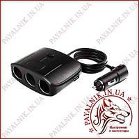 Автомобільний розгалужувач прикурювача Olesson № 1635 12-24V 100W 3 гнізда з тумблером + 2 USB
