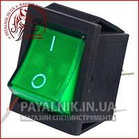 Переключатель широкий с подсветкой IRS-201-1С (ON-OFF) 4-х контактный, 15A, 220V, зелёный
