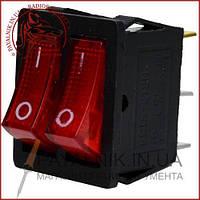 Переключатель двойной с подсветкой KCD4-011, ON-OFF 6-и контактный, 15A, 220V, красный