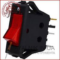 Переключатель с подсветкой KCD-3, ON-OFF 3-х контактный, 15A, 220V, красный