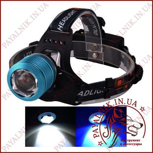 Ліхтарик налобний від акумулятора Li-on 18650 BL-2199-2-T6 зарядка від Micro USB