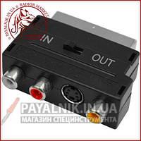 Переходник Scart - RCA + гнездо mini din 4-х с переключателем