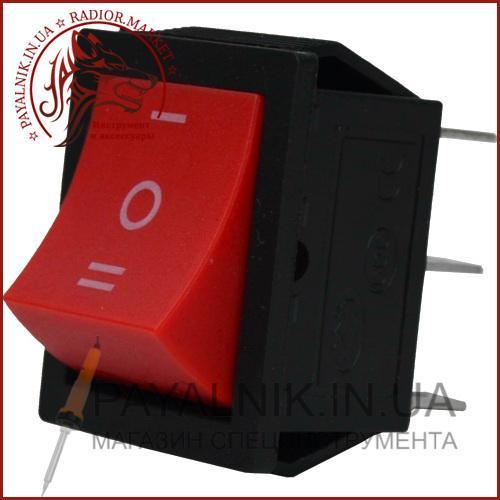 Переключатель широкий KCD-4, ON-OFF-ON 6-и контактный, 15A, 220V, красный