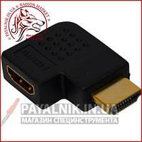 Переходник HDMI - HDMI угловой горизонтальный правый (мама - папа) (штекер - гнездо)
