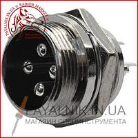 Разъём MIC 334, (штекер), монтажный, 4pin, диаметр - 16мм (1-0411)