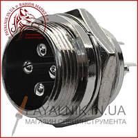 Роз'єм MIC 334, (штекер), монтажний, 4pin, діаметр - 16мм (1-0411)