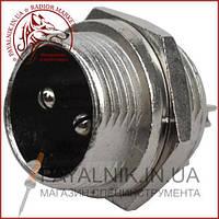Разъём MIC 332, (штекер), монтажный, 2pin, диаметр - 16мм (1-0403)