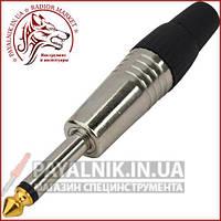 Штекер 6,3мм моно, gold, корпус металлический, серебристый (1-0059)