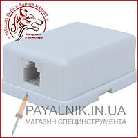 Телефонная розетка х1 (6Р4С) наружная с липучкой