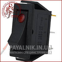 Переключатель узкий с подсветкой IRS-101E-1C ON-OFF 3-х контактный, 15A, 220V, красный