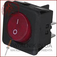 Переключатель с подсветкой, с круглой клавишей RK1-05, ON-OFF, 4-контактный, красный