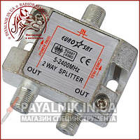 Сплиттер (Splitter) ТВ 2-way 5-2400MHZ, с проходом питания, корпус металл (2-0145)