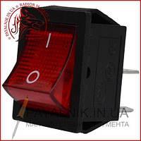 Переключатель широкий с подсветкой KCD-4, ON-OFF 4-х контактный, 15A, 220V красный