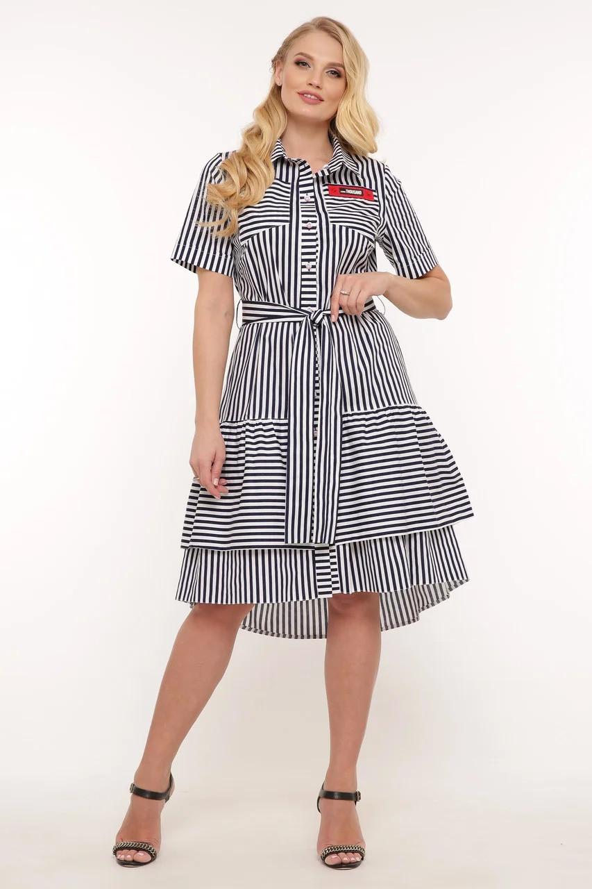 Кокетливое платье большого размера в полоску, размер 52-58