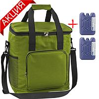 Сумка-холодильник 35 л Time Eco TE-334S, зеленая (термосумка, изотермическая сумка для напитков и продуктов)