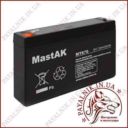 Акумулятор свинцево-кислотний Mastak 6V 7.0 AH/20HR (MT670)