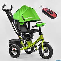 Трехколесный детский велосипед Best Trike 7700 В (2020) (надувные колеса & пульт света & поворотное сидение)