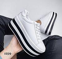 Білі кросівки жіночі на високій платформі, фото 1