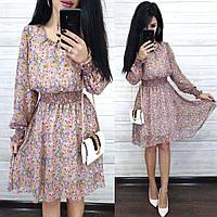 Нарядное цветочное платье до колен из шифона