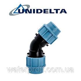 Колено зажимное 20х45° Unidelta