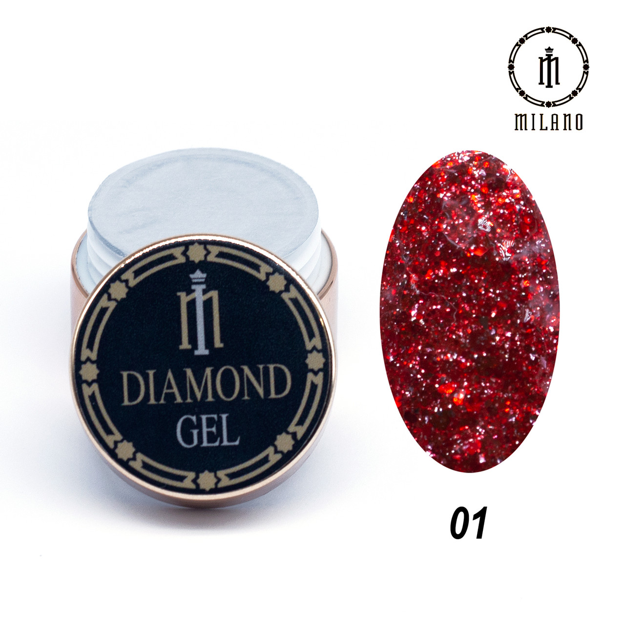 Глиттер-гель Diamond Milano 8G № 01, 8 мл