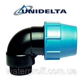 """Коліно затискне з зовнішньою різьбою 63х2 1/2"""" Unidelta"""
