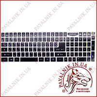 Наклейки для клавиатуры черные, русские + английские, с боковыми цифрами