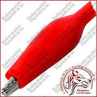 Зажим тестерный большой, длина 50мм, красный