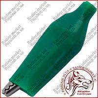Зажим тестерный малый, длина 35мм, зеленый