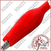 Затискач тестерный малий, довжина 44мм, червоний