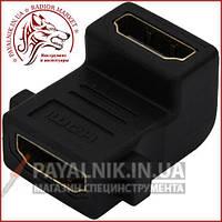 Переходник HDMI гнездо - гнездо (мама - мама) угловой gold (сгонка)
